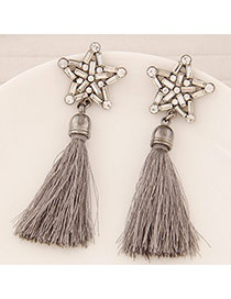 Elegant Gray Round Shape Decorated Tassel Design
