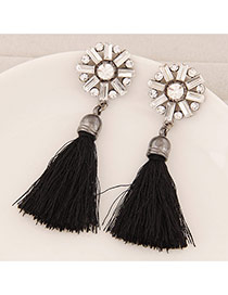Elegant Black Round Shape Decorated Tassel Design  Alloy Stud Earrings
