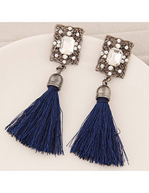 Elegant Navy Blue Square Diamond Decorated Tassel Design