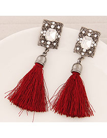 Elegant Red Square Diamond Decorated Tassel Design