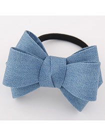 Sweet Light Jean Big Bowknot Decorated Simple Design Rubber Hair band hair hoop