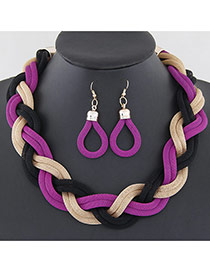 Fashion Purple Metal Chain Weave Simple Design