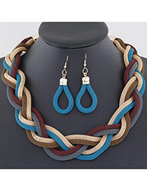 Fashion Blue Metal Chain Weave Simple Design