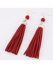 Elegant Red Beads Decorated Tassel Pendant Design