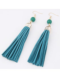 Elegant Blue Beads Decorated Tassel Pendant Design  Alloy Korean Earrings