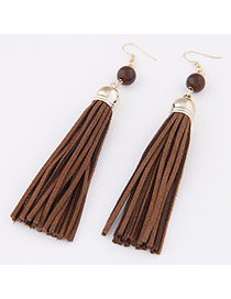 Elegant Coffee Beads Decorated Tassel Pendant Design