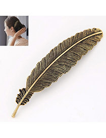 Prsonality Bronze Feather Shape Simple Design
