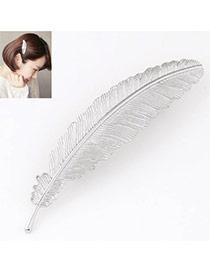 Prsonality Silver Color Feather Shape Simple Design