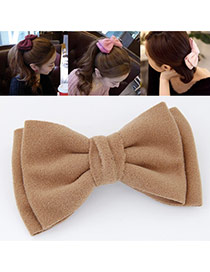 Sweet Khaki Pure Color Bowknot Shape Design  Alloy Hair clip hair claw