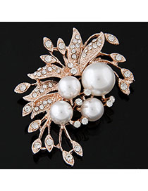 Fashion Gold Color Pearl Decorated Flower Shape Design  Alloy Korean Brooches