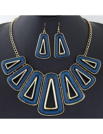 Exaggerated Navy Blue Triangle Shape Decorated Hollow Out Design  Alloy Jewelry Sets