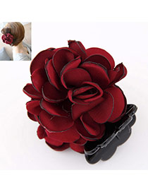 Sweet Claret-red Flower Decorated Simple Design  Rosin Hair clip hair claw