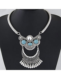 Retro Blue Round Shape Decorated Tassel Design Alloy Bib Necklaces