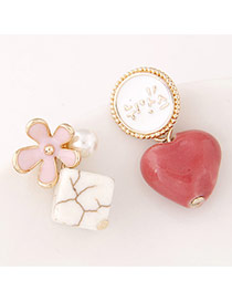 Personality Pink+red Flower&heart Shape Decorated Asymmetry Design