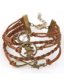 Retro Light Coffee Double Birds Decorated Multilayer Design  Alloy Korean Fashion Bracelet