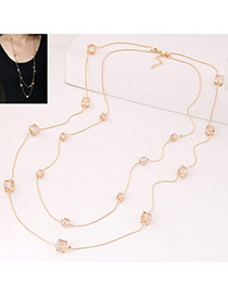 Fashion Champagne Square Diamond Decorated Double Layer Design Alloy Chains