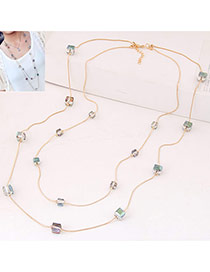 Fashion Multi-color Square Diamond Decorated Double Layer Design