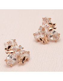 Sweet Champagne Butterfly Decorated Clover Shape Design(anti-allergy)  Cuprum Stud Earrings