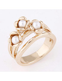 Sweet Gold Color Pearl&flower Decorated Simple Design  Alloy Korean Rings