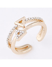 Sweet Gold Color Double Triangle Decorated Open Design  Alloy Korean Rings