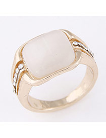 Sweet Gold Color Square Gemstone Decorated Simple Design  Alloy Korean Rings