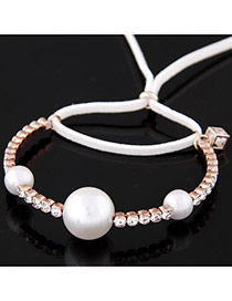 Exquisite White Three Pearls Decorated Bowknot Shape Design  Alloy Fashion Bangles