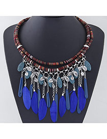 Temperament Silver Color Tassel Feather Decorated Double Layer Design