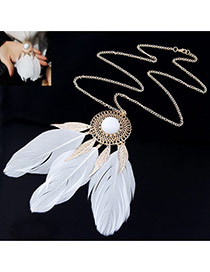 Personality White Round Shape Decorated Feather Pendant Design Alloy Chains