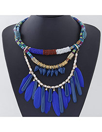 Personality Sapphire Blue Feather Pendant Decorated Multilayer Design