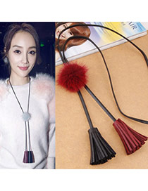 Fashion Red Fuzzy Ball Decorated Double Tassel Pendant Design