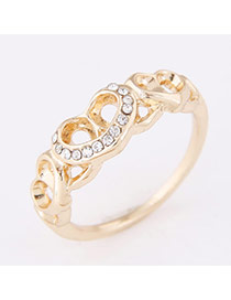 Personality Gold Color Diamond Decorated Heart Shape Design  Alloy Korean Rings