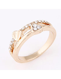 Personality Gold Color Heart Shape Decorated Simple Design  Alloy Korean Rings