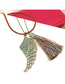 Retro Multicolor Wing&tassel Pendant Decorated Double Layer Design