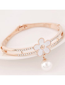 Sweet White Pearl&flower Decorated Simple Design  Alloy Fashion Bangles