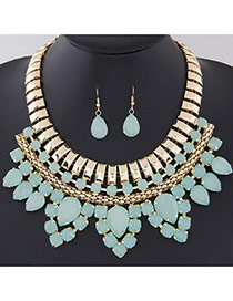 Fashion Light Green Water Drop Gemstone Decorated Multilayer Design  Alloy Jewelry Sets