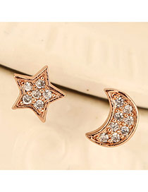 Sweet Rose Gold Star&moon Shape Decorated Dissymmetry Design  Cuprum Stud Earrings