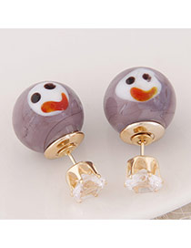 Cute Light Purple Smiling Face Pattern Decorated Round Shape Design  Alloy Stud Earrings
