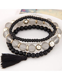 Elegant Black Candy Color Beads Decorated Multilayer Design