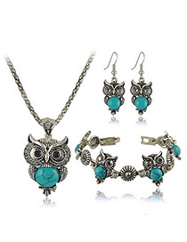 Temperament Blue Owl Shape Decorated Simple Design