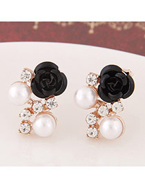 Sweet Black Diamond&rose Flower Decorated Simple Design  Alloy Stud Earrings