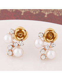 Sweet Gold Color Diamond&rose Flower Decorated Simple Design  Alloy Stud Earrings