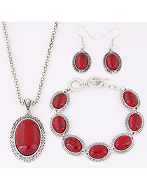 Temperament Red Oval Gemstone Pendant Decorated Simple Design Alloy Jewelry Sets
