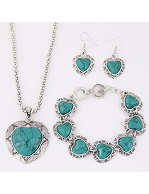 Temperament Green Heart Shape Gemstone Pendant Decorated Simple Design Alloy Jewelry Sets