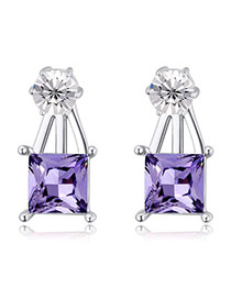 Exquisite Tanzanite Square Diamond Decorated Simple Design  Alloy Crystal Earrings