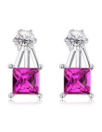 Exquisite Purplish Red Square Diamond Decorated Simple Design  Alloy Crystal Earrings