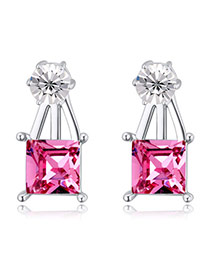 Exquisite Plum Red Square Diamond Decorated Simple Design  Alloy Crystal Earrings