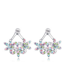Exquisite Multi-color Diamond Decorated Flower Shape Design  Alloy Crystal Earrings