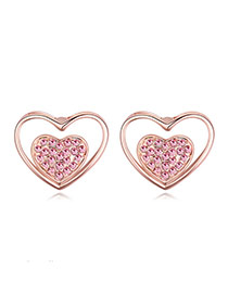 Exquisite Rose Gold+light Plum Red Diamond Decorated Heart Shape Design  Alloy Crystal Earrings