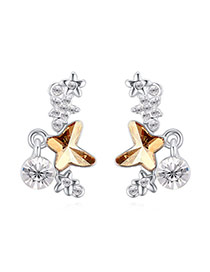 Exquisite Gold Color Butterfly Shape Decorated Simple Design  Alloy Crystal Earrings