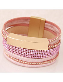 Temperament Pink Metal&diamond Decorated Multilayer Design